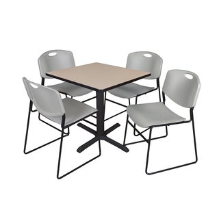 Square 30-inch Table and 4 Zeng Stackable Grey Chairs