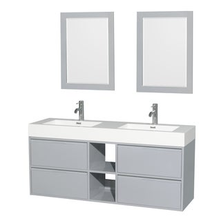 Wyndham Collection Daniella MDF 60-inch Double Vanity, Acrylic Resin Countertop, Integrated Sinks, 24-inch Mirrors