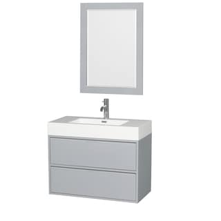 Wyndham Collection Daniella 36-inch Single Vanity, Acrylic Resin Countertop, Integrated Sink, 24-inch Mirror