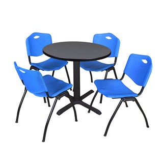 Round 30-inch Table and 4 'M' Stackable Blue Chairs