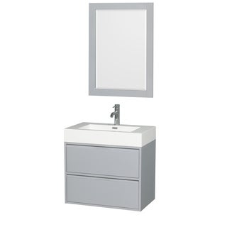 Wyndham Collection Daniella Acrylic Resin 30-inch Single-vanity Countertop with Integrated Sink and 24-inch Mirror