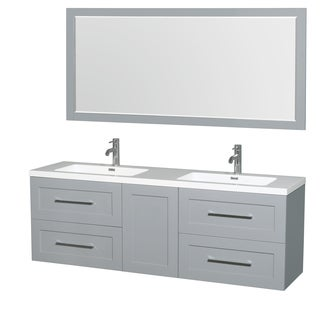 Wyndham Collection Olivia Acrylic Resin Countertop 72-inch Mirrored Integrated Sink Double Vanity
