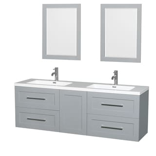 Wyndham Collection Olivia 72-inch Double Vanity, Acrylic Resin Countertop, Integrated Sinks, 24-inch Mirrors