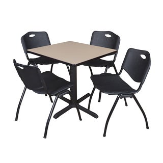 30-inch Square Table and 4 'M' Stackable Black Chairs