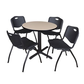 30-inch Round Table and 4 'M' Stackable Black Chairs