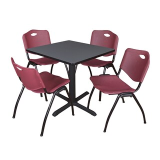 30-inch Square Table and 4 'M' Stackable Burgundy Chairs