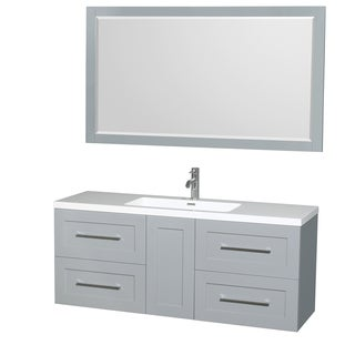 Wyndham Collection Olivia 60-inch Acrylic Resin Countertop Sink with Integrated 58-inch Single Vanity Mirror