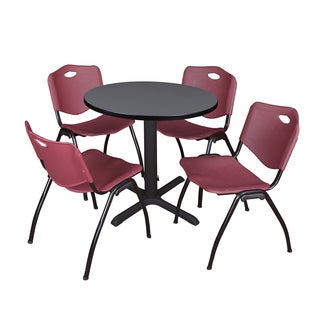 30-inch Round Table and 4 'M' Stackable Burgundy Chairs
