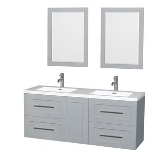 Wyndham Collection Olivia 60-inch Double Vanity, Acrylic Resin Countertop, Integrated Sinks, 24-inch Mirrors