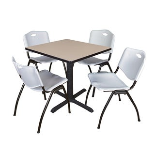 30-inch Square Table and 4 'M' Stackable Grey Chairs