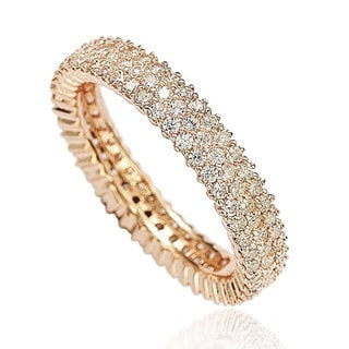 Suzy Levian Rosed Sterling Silver Micro-Pave White Cubic Zirconia Eternity Band