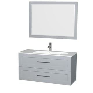 Wyndham Collection Olivia MDF 48-inch Single Vanity with Acrylic Resin Countertop, Integrated Sink, and 46-inch Mirror