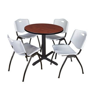 30-inch Round Table and 4 'M' Stackable Grey Chairs