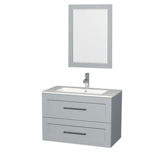 Wyndham Collection Olivia Grey MDF 36-inch Single Vanity with Mirror