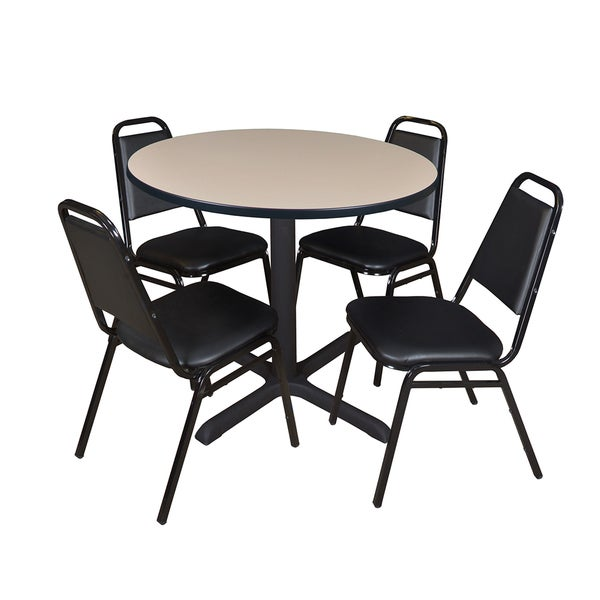 Cain 36-inch Round Breakroom Table with 4 Restaurant Stack Chairs