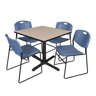 36-inch Square Table and 4 Zeng Stackable Blue Chairs