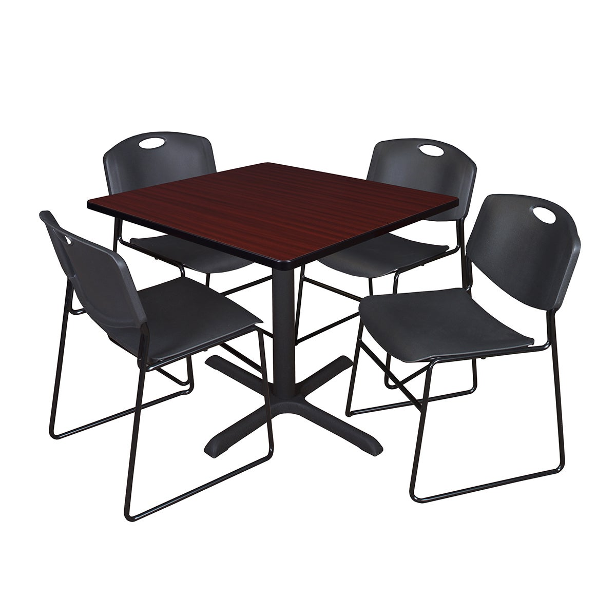 Details About 36 Inch Square Table And 4 Zeng Stackable Black Chairs