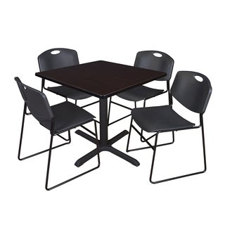 36-inch Square Table and 4 Zeng Stackable Black Chairs