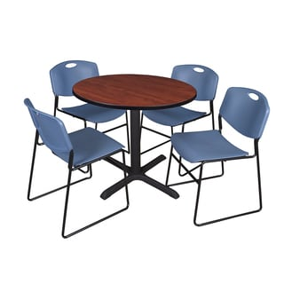 36-inch Round Table and 4 Zeng Stackable Blue Chairs