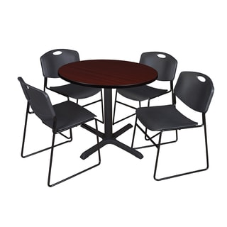36-inch Round Table and 4 Zeng Stackable Black Chairs