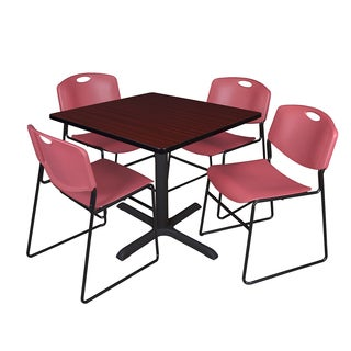 36-inch Square Table and 4 Zeng Stackable Burgundy Chairs