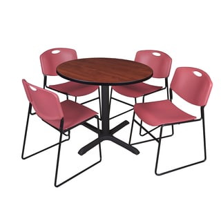36-inch Round Table and 4 Zeng Stackable Burgundy Chairs