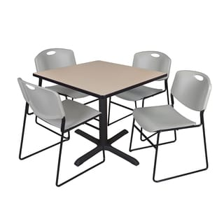 36-inch Square Table and 4 Zeng Stackable Grey Chairs