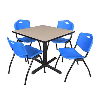 36-inch Square Table and 4 'M' Stackable Blue Chairs