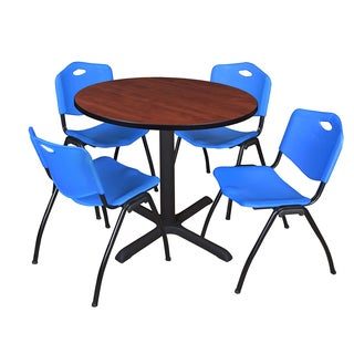 Round 36-inch Table and 4 'M' Stackable Blue Chairs