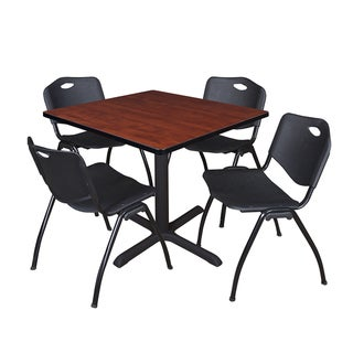 Square 36-inch Table and 4 'M' Stackable Black Chairs