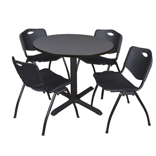 Round 36-inch Table and 4 'M' Stackable Black Chairs