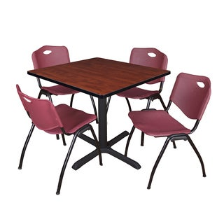 36-inch Square Table and 4 'M' Stackable Burgundy Chairs