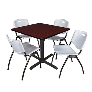 36-inch Square Table and 4 'M' Stackable Grey Chairs