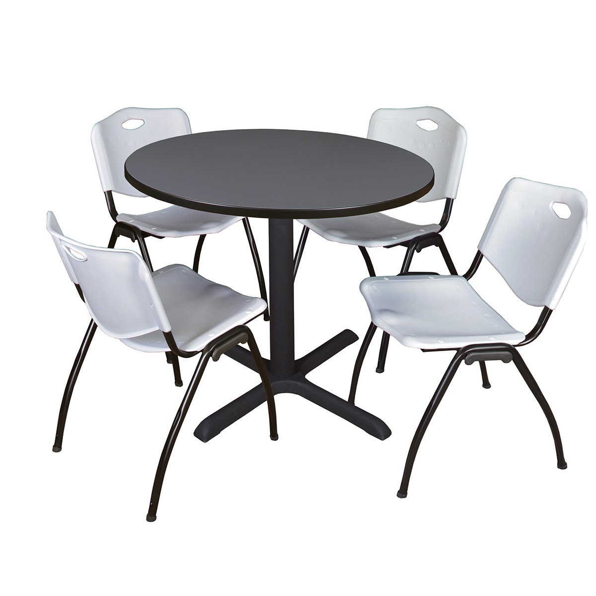 Regency Seating Round 36-inch Table and 4 'M' Stackable G...