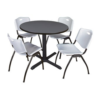 Round 36-inch Table and 4 'M' Stackable Grey Chairs