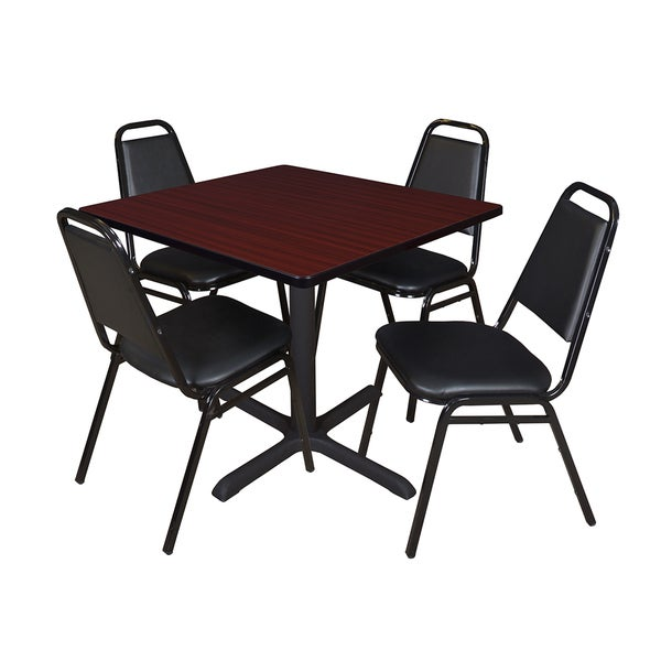 Cain 42 Inch Square Breakroom Table With 4 Restaurant Stack Chairs