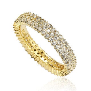 Suzy Levian Golden Sterling Silver Micro-Pave White Cubic Zirconia Eternity Band