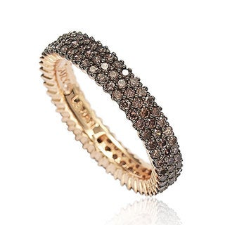 Suzy Levian Rose Sterling Silver Micro-Pave Brown Cubic Zirconia Eternity Band