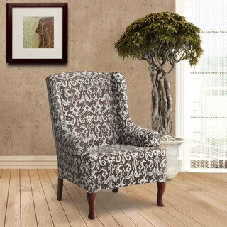 Coverworks Bombay Polyester Print Stretch Wing Chair Slipcover