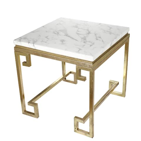 Phoenecian Nights Goldtone Iron End Table with Marble Top