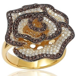 Suzy Levian Golden Sterling Silver Brown and White Cubic Zirconia Pave Flower Ring