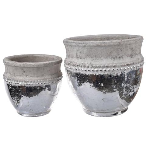 Tan Ceramic Planter Pots (Set of 2)