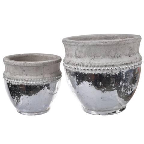 A&B Home Tan Ceramic Planter Pots (Set of 2)
