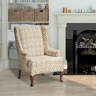 Coverworks Abigail Tan Stretch Wing Chair Slipcover