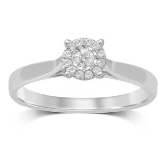 Unending Love 10k White Gold 1/6ct TDW Diamond Solitaire Engagement Ring (I-J, I2-I3)