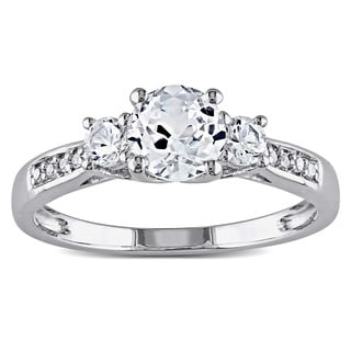 10k White Gold Created White Sapphire and Diamond 3-Stone Engagement Ringby Miadora Size 9.5 (As Is Item)