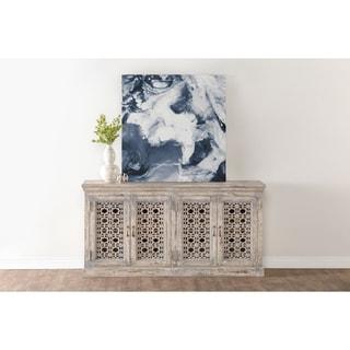 Link to Hepburn Antiqued White 4-Door Sideboard by Kosas Home Similar Items in Dining Room & Bar Furniture