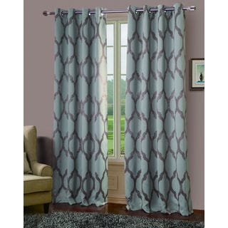 Bowery Jacquard 84-inch Blackout Grommet Curtain Panel Pair