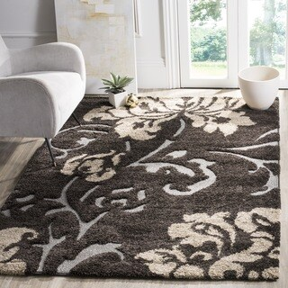 Safavieh Florida Shag Dark Brown/ Smoke Floral Rug (3'3 x 5'3)