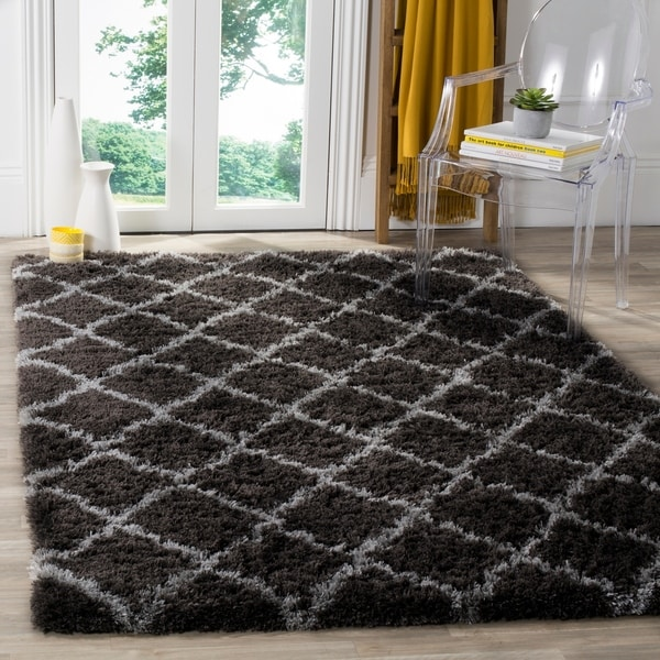 Safavieh Indie Shag Trellis Dark Grey/ Grey Polyester Rug - 4' x 6'